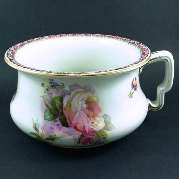 Antique Chamber Pot Pink Roses Gold Trim