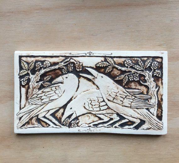 Drie kraaien 5 x 9 inch tegel handgemaakte door agapanthertiles