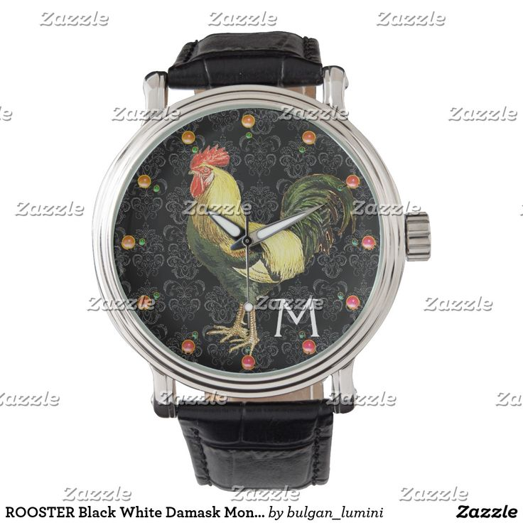 ROOSTER Black White Damask Monogram Wristwatches #fashion #roosters #farm #animalfarm #rustic #animals #birds #watches