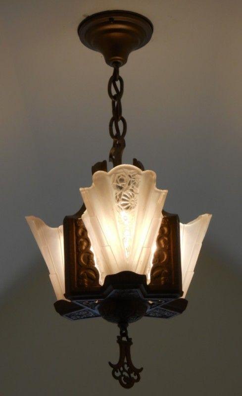 EBay Item: C.20u0027s Art Deco Antique Chandelier Vintage Ceiling Light Fixture  Lamp Slip