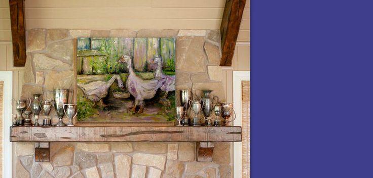 "painting original art oil signature"" geese""27,5"" 23,5"" Irina Rej #Impressionism"