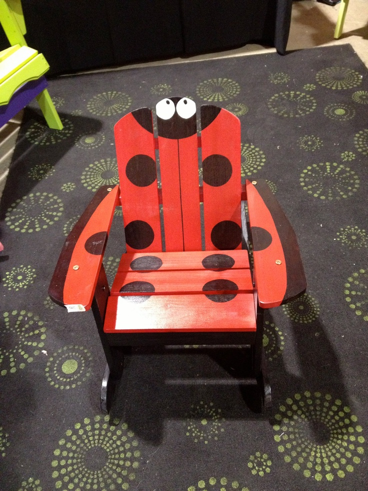 Red and Black Ladybug themed kids rocking chair.. 60.00, via Etsy.