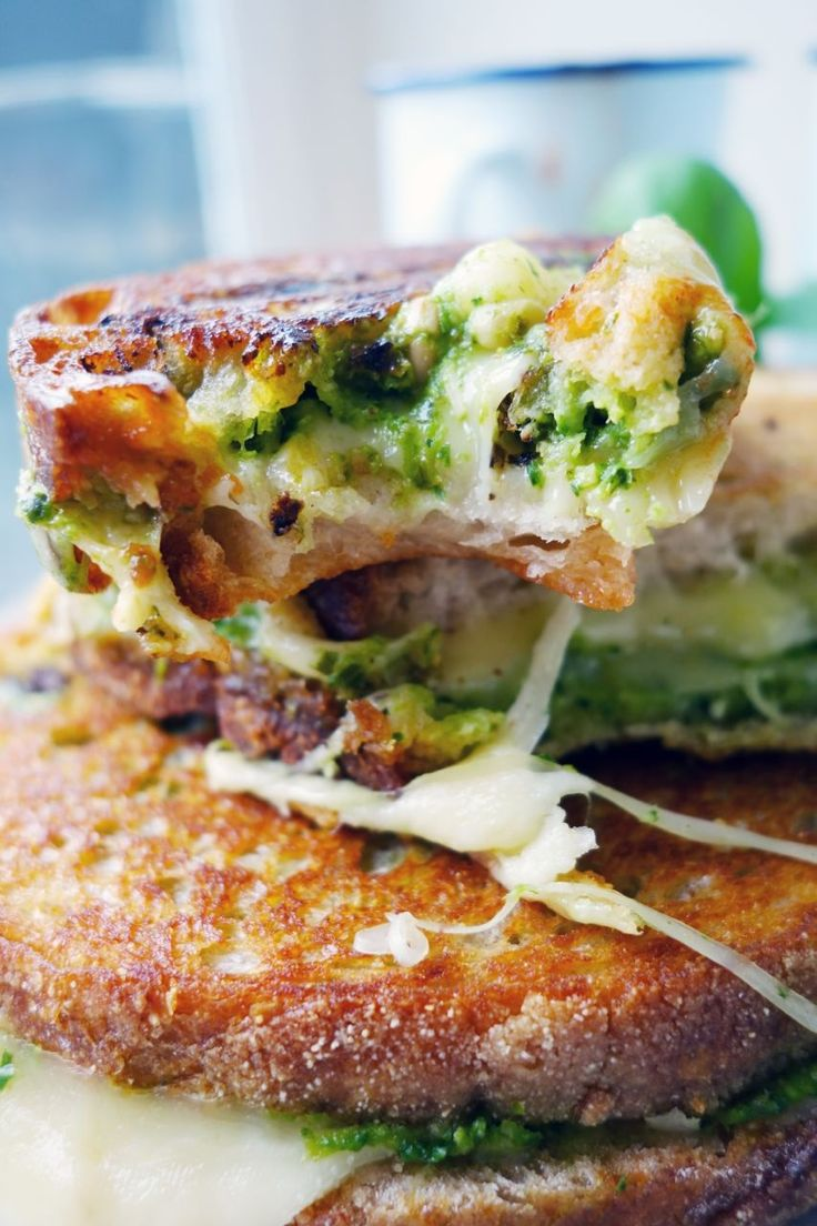 Pesto grilled cheese recipe. My absolute favorite.