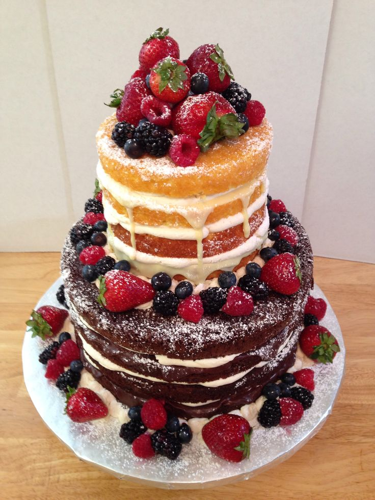 Naked cakes by Express Sugar Designs. Fresh fruit, raspberry dark chocolate and white chocolate ganache, Meyer lemon curd, lemon and chocolate cake. Made for teacher appreciation day. Expresssugardesigns.net