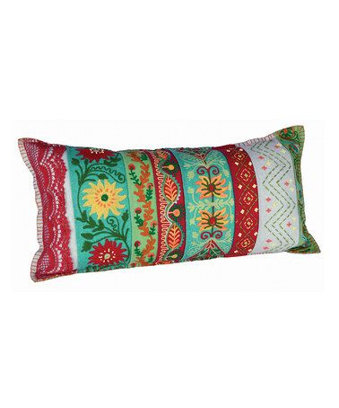 Take a look at this Red & Green Tropical Lace Cushion by Karma Living on #zulily today!