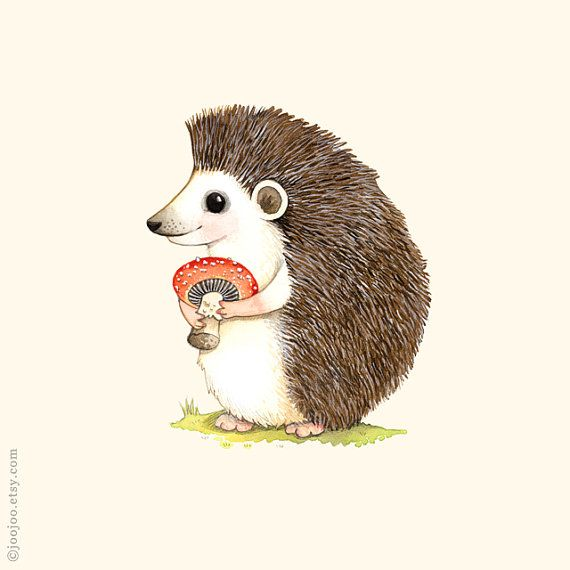 Woodland nursery Hedgehog print forest animal Hedgehog por joojoo