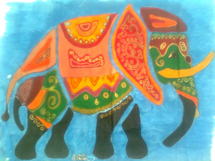 Indian elephant painted on fabric using flour pulp to create the spaces which is removed later when paint and pulp are dry.