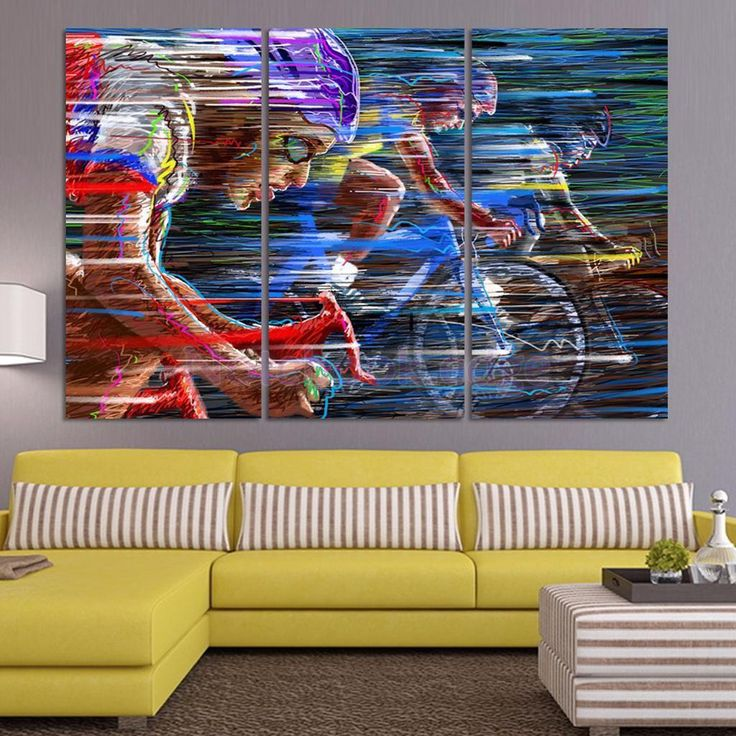 Canvas Decorative Wall Art Painting Picture Bicycle Race Print No Framed S