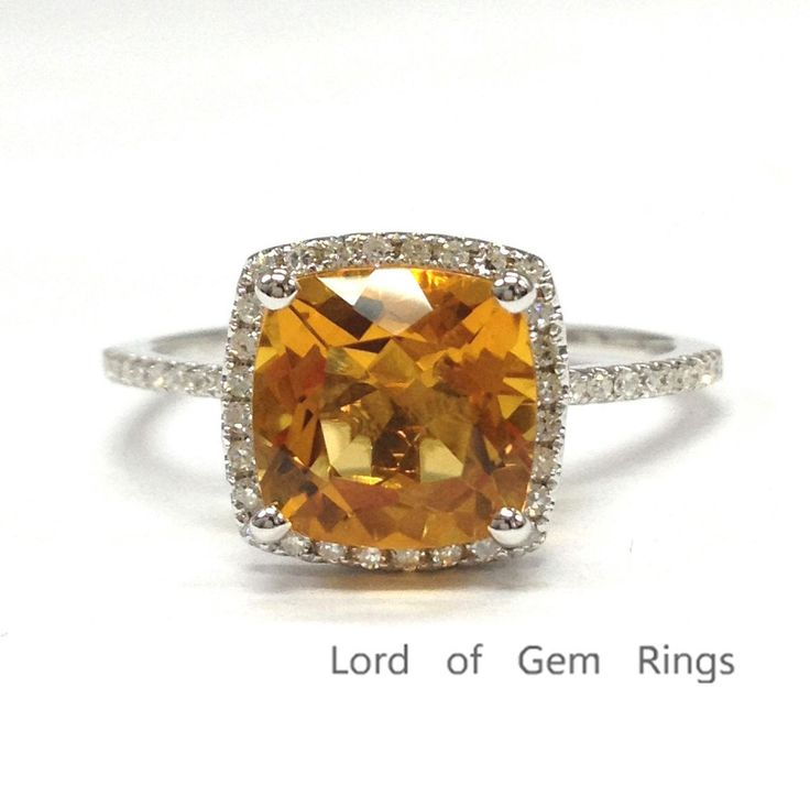 Nice  Cushion Yellow Citrine Engagement Ring Pave Diamond Wedding K White Gold mm