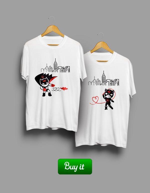 Детка, этот город будет наш. Все, что нам нужно - наша любовь и эти футболки.    #together #love #couple #husband #wife #forever #heart #любовь #girlfriend #boyfriend #batman #catwoman #Tshirt #любовь #пара