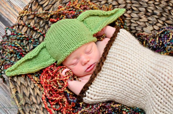 Baby Yoda Hat Baby Star Wars Newborn Yoda by TheOwlTreeKnittingCo, $22.99