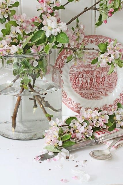 Floral arrangement with apple blossoms and red transferware plate -- VIBEKE DESIGN