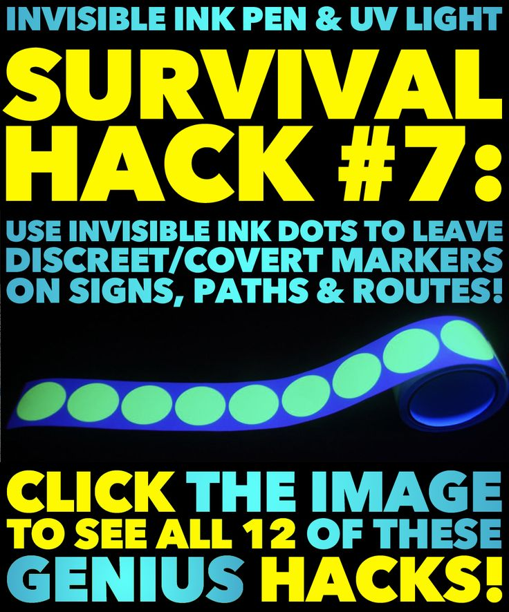 """12 Genius Survival Security Hacks Using Just An Invisible Ink Pen & UV Light!! These are BRILLIANT!! I had no idea how useful a simple invisible ink pen could be!! You can literally """"hide"""" personal, private, & sensitive information in the open in plain sight!! And they are so inexpensive!! Mind. Blown!! Survival, preparedness, prepper, security, privacy, usernames and passwords, bug out locations, tracking, disaster preparedness, emergency preparedness... the uses and applications are…"""