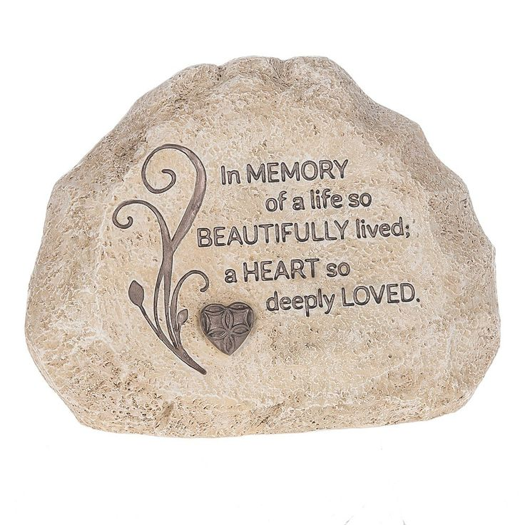 "Features: -Angel Love collection. -""In memory of a life so beautifully lived, A heart so deeply loved"" rock. Product Type: -Letter blocks. Subject: -Words and text. Finish: -Beige. Style: -Conte"