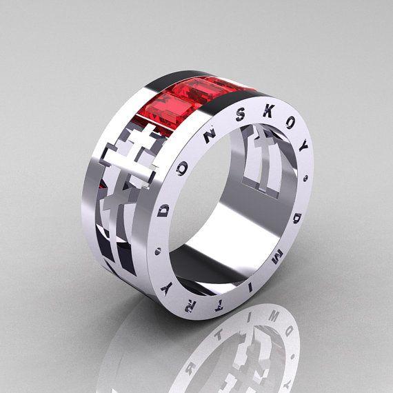 Dmitry Donskoy Mens 14K White Gold Ruby Channel Cluster Wedding Band R419M-14KWGR
