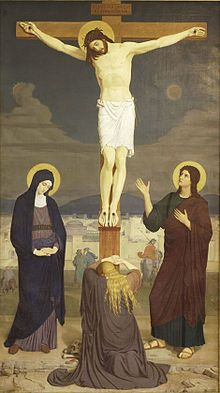 When Jesus was crucified by the Romans, Mary Magdalene was there supporting him in his final terrifying moments and mourning his death.[5] She stayed with him at the cross after the male disciples (excepting John the Beloved) had fled. She was at his burial.