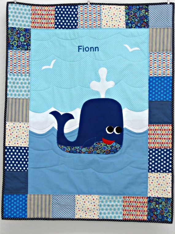 Blue Whale Baby Quilt by pippabluebaby on Etsy, $126.00