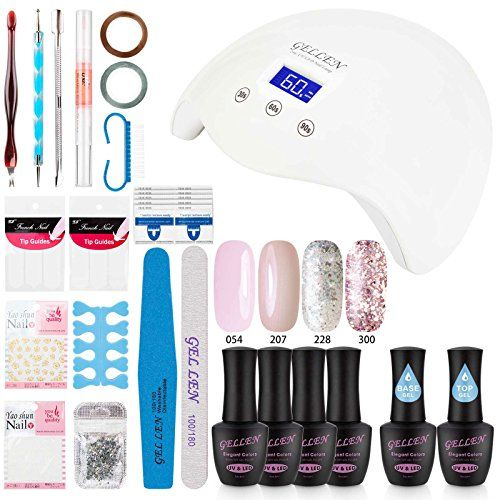 Gellen Gel Nail Polish Starter Kit with 24W LED lamp Base Top Coat, Manicure Tools Popular Nail Art Designs #1. For product & price info go to:  https://beautyworld.today/products/gellen-gel-nail-polish-starter-kit-with-24w-led-lamp-base-top-coat-manicure-tools-popular-nail-art-designs-1/
