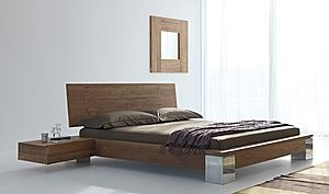 Love the floating side tables