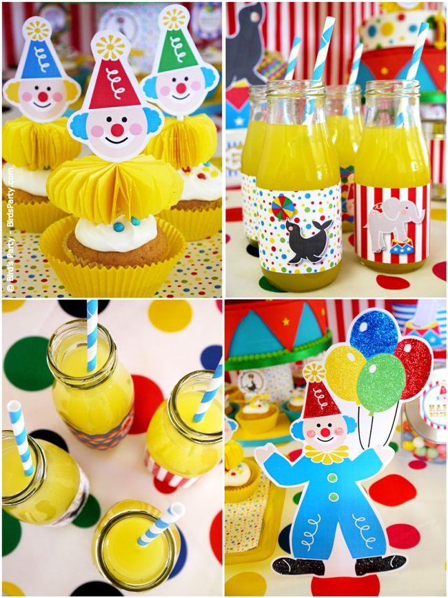 Big Top Circus Carnival Inspirado Idéias do partido de aniversário e mesa Printables Sobremesas