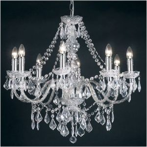 Endon Clear Acrylic 8 Light Chandelier 308-8CL   A clear acrylic chandelier dressed with clear acrylic decoration. To see complete range, see related products. Also available in black, see related products. #designer