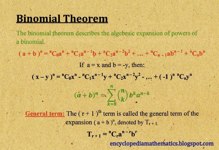 binomial theorem The binomial theorem states a formula for expressing the powers of sums the most succinct version of this formula is shown immediately below isaac newton wrote a generalized form of the binomial.