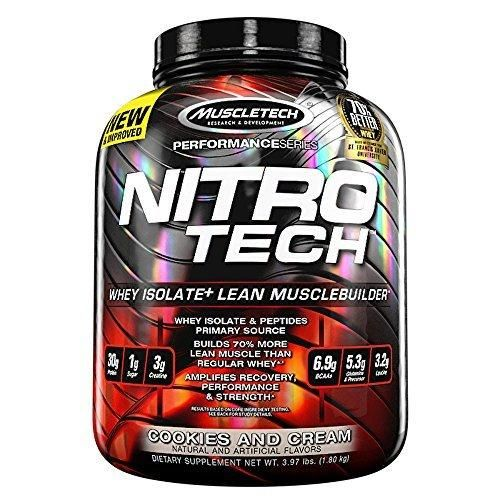 MuscleTech NitroTech Protein Powder Whey Isolate  Lean MuscleBuilder Cookies and Cream 3.97 lbs (1.80kg)