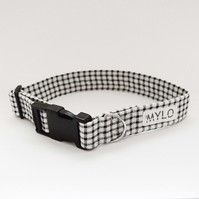 MR MYLO Black and White check dog collar
