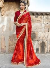 Red Color Georgette Festival & Function Wear Sarees : Selina Collection  YF-43383