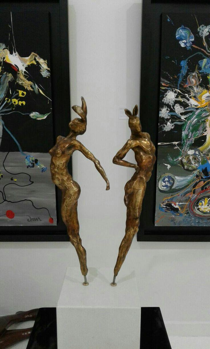 Dancing Rabbits by sculptor Gerhard van Eck