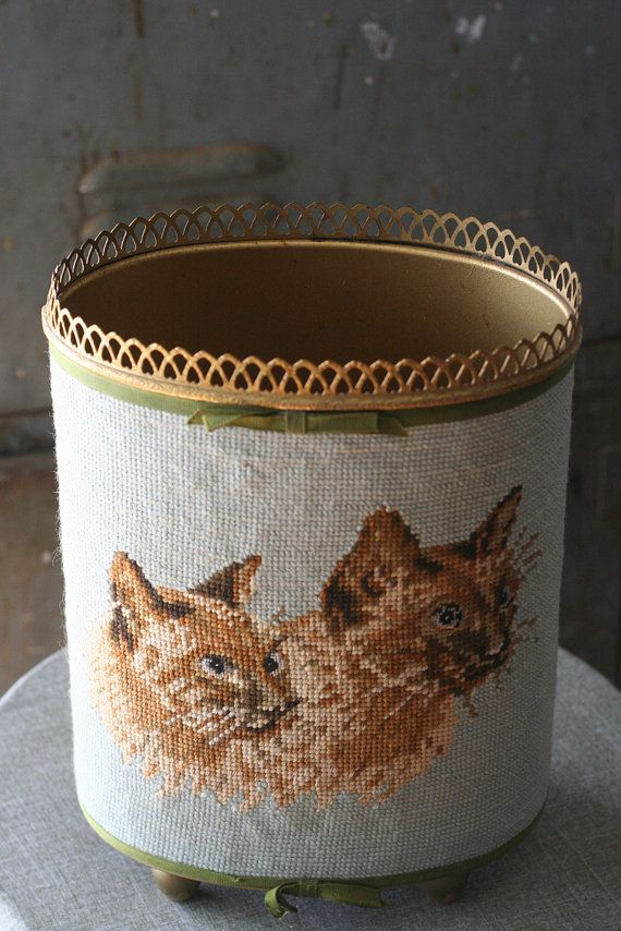 Cat Needlepoint Wastebasket Garbage Can by thriftykitten on Etsy. Kinda weird. Which means I like it