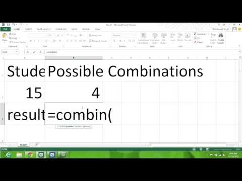 Combination  or Permutation Formula in Excel Spreadsheet