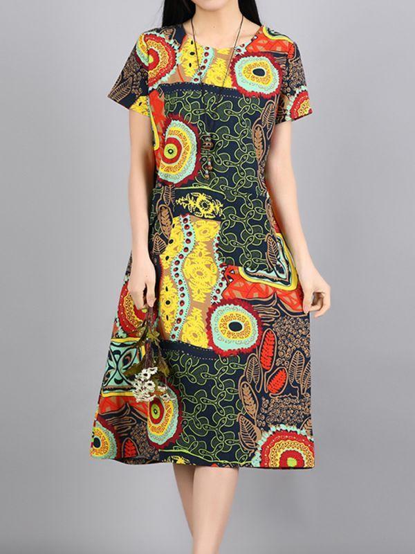J crew casual summer dresses ethnic women short sleeve o-neck printed pockets dresses #casual #dresses #ireland #casual #dresses #ross #images #of #casual #dresses #2015 #sketches #of #casual #dresses