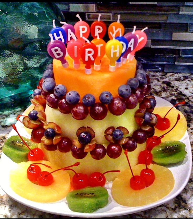 Healthy Fruit Birthday Cake Fruits And Vegetables For Healthy Eyes