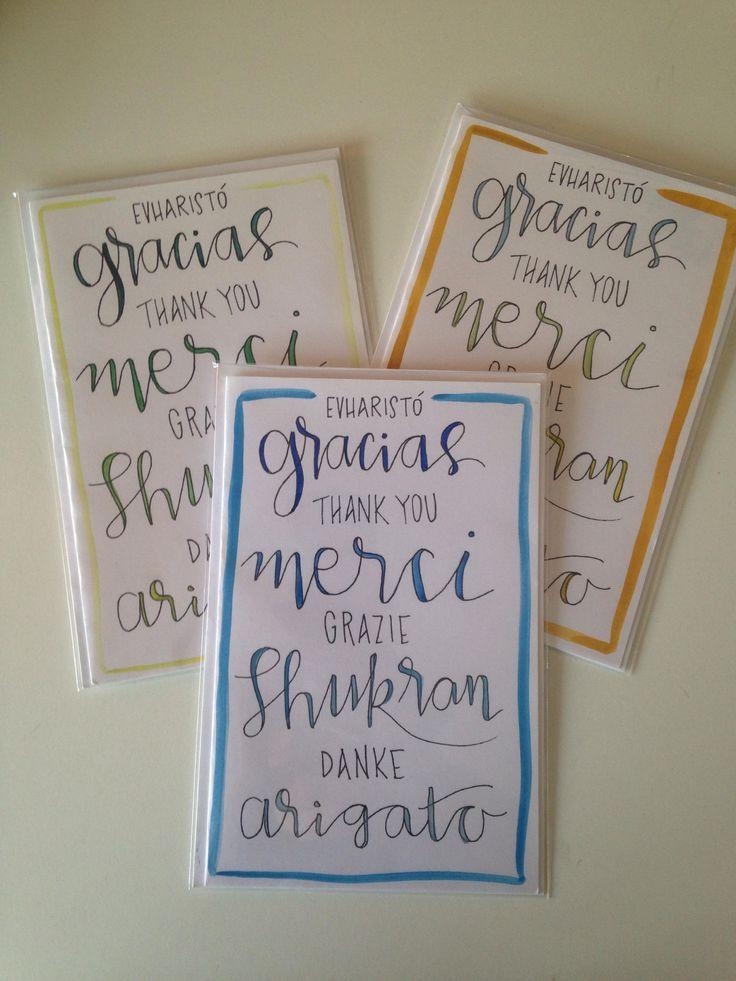 Thank You: Mushpa + Mensa Watercolored Original Design Greeting Card Blank Inside - Card & Envelope http://etsy.me/2A3iGpj #papergoods #greek #spanish #english #french #italian #arabic #german #japanese