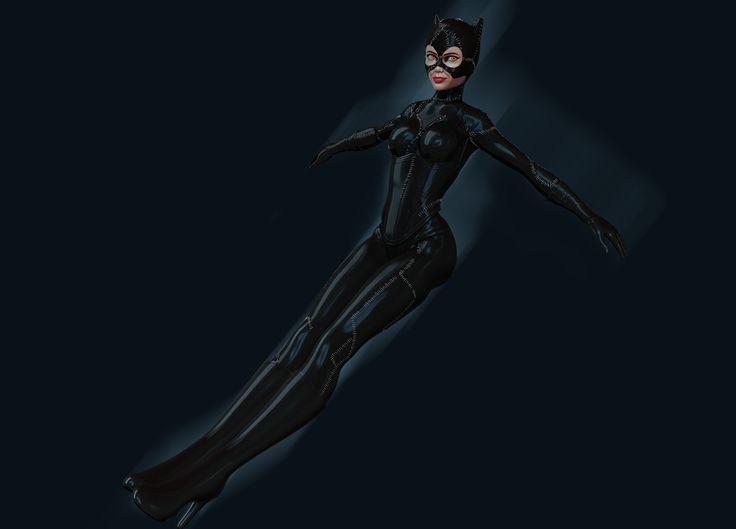 Catwoman in flight by Nalimn on DeviantArt