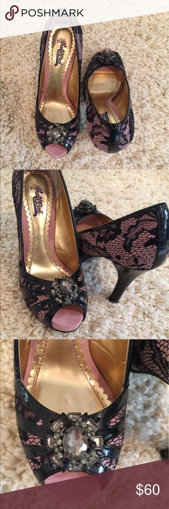 "SALE Pink & black lace platform heels with jewels! SO CUTE! .5"" platform. 4"" heel. Great condition! Worn twice! Hale Bob Shoes Platforms"