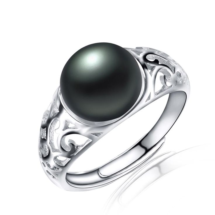 Vintage 100% black Freshwater pearl rings for women AAAA High Quality Gold Plated  pearl Jewelry Hollow Engagement Wedding ring