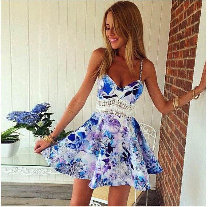 045bce2fe94c Flower Print Spaghetti Strap Sleeveless Open Back Short Dress | Wedding &  Events | Dresses, Spaghetti strap dresses, Summer dresses
