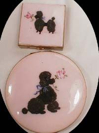 1940s Pink enamel Poodle Compact & Pill Box.  This really reminds me of my grandma.