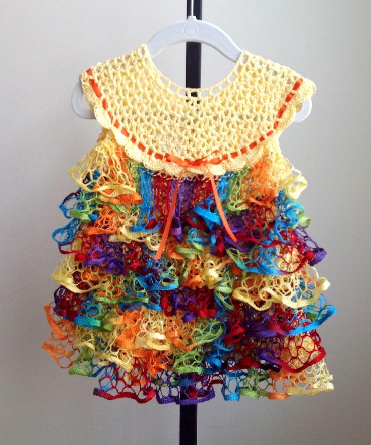 Crochet baby dress, ruffle bottom 6-9 months