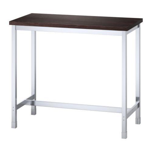 IKEA - UTBY, Table de bar, Piètement en acier inoxydable; solide, résistant et facile à entretenir.Les pieds réglables assurent la stabilité même sur un sol inégal.