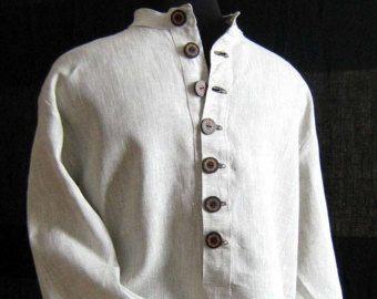Homme chemise en lin / chemise/mens lin chemise/mens chemise/lin chemise/lin été fait à la main présente des hommes chemise/Long manches vêtements lin chemise / d'été