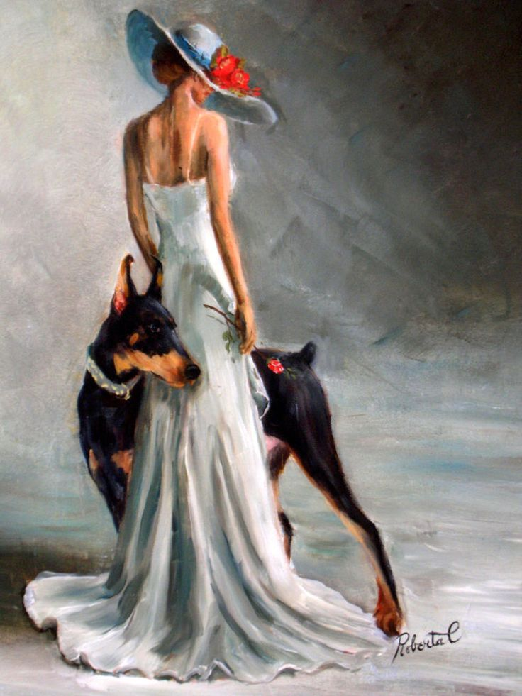 Doberman Pinscher bl & tan with lady original oil painting by Roberta C
