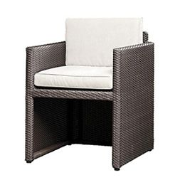 Lando Armchair This item is hand woven with a Synthetic cane fiber (Polyethylene based) which is tear proof, colorfast, resistant to UV light and 100 % recyclable. The frame is made of Aluminum and is powder coated. The combination of both materials makes each piece totally weatherproof. The furniture can be rinsed with a hose pipe...  Material:Polycane / Aluminum Size:W: 590 D: 600 H: 750