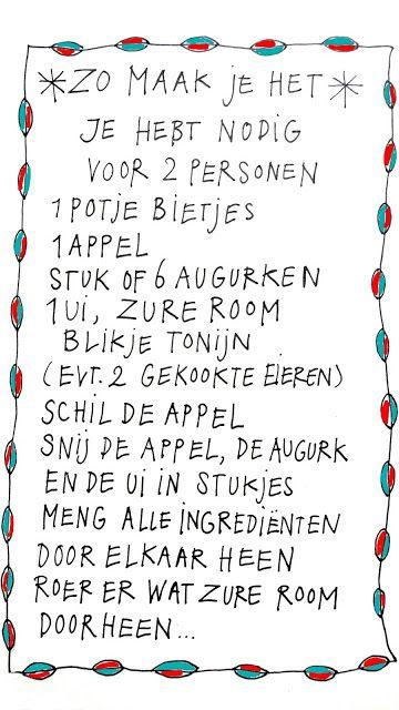 Salade: bieten, augurk, ui, appel, tonijn.