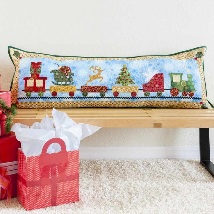 Hop Onboard and make this Christmas Train Parade Pillow or use the die to make. Pillow PatternsQuilt ...