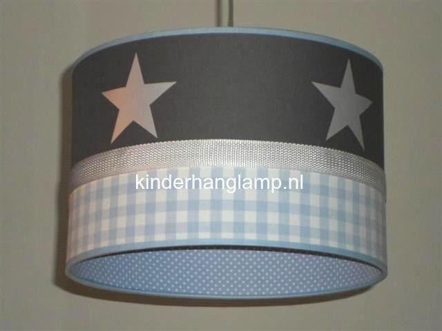 kinderlamp antraciet zilveren sterren lichtblauw ruitje en stipjes