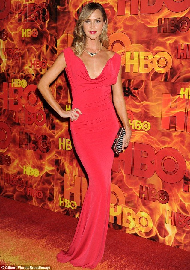 Red hot: Arielle Kebbel dazzled in a tight, plunging scarlet dress ~ HBO After Party ~ Primetime Emmys ~ September 2015