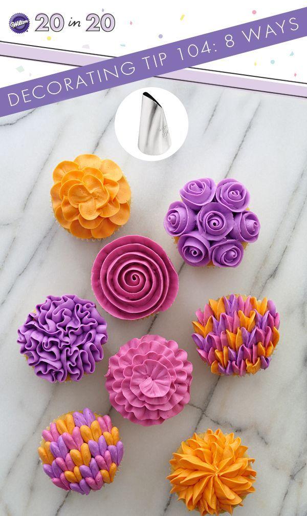 Make these spring cupcakes using decorating tip 104